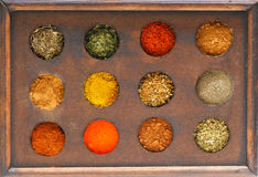 Box of spices. Image of wooden box with various spices Royalty Free Stock Images