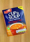 Box of Spicy Chorizo and Bean Cup Soup sachets made by Batchelors Royalty Free Stock Photos