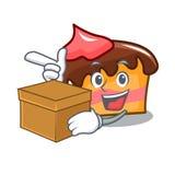 With box sponge cake character cartoon. Vector illustration Stock Photo