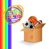 Box with sports balls. Vector Stock Photography