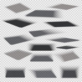 Box square shadows with soft edge  on transparent background vector set Stock Photo