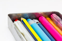 Box of stationary. Is full of pens and pencils stock photography
