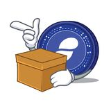 With box Status coin character cartoon. Vector illustration Stock Image