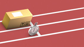 Box and stopwatch racing. This symbolizes on time delivery Royalty Free Stock Images