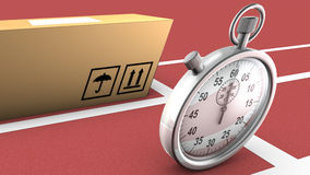 Box and stopwatch racing. This symbolizes on time delivery Stock Photo