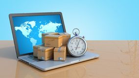 Box and stopwatch standing on a laptop concept of delivery 3d render on blue gradient. Box and stopwatch standing on a laptop concept of delivery 3d render on royalty free illustration