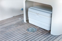 Box storage in a boat. White box storage in a boat Stock Photography