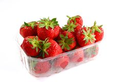 Box of Strawberries. Box of fresh strawberries on white Background Royalty Free Stock Image