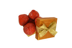The box with strawberry Stock Photography