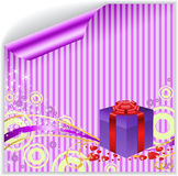 Box on the striped sticker. Gift box on violet-striped sticker Stock Photos