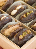 Box of Stuffed Dates. Close up of Box of Stuffed Dates stock images