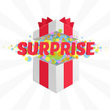 Box with a surprise. Open gift box and with red bow and ribbon vector background. Surprise message Stock Photo