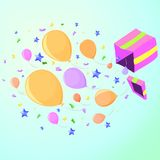 Box with a surprise at the party, pink. Box with a surprise at the party from which flies confetti, stars and balloons, pink royalty free illustration