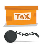 Box for taxes and chain with ball. Royalty Free Stock Photography