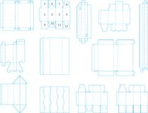Box template collection 02 eps. Useful templates for boxes and package, including cutting, folding lines and gluing area, ready to be easily and quickly made Stock Images