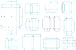 Box template collection 04 eps. Useful templates for boxes and package, including cutting, folding lines and gluing area, ready to be easily and quickly made Stock Photo
