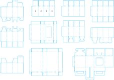 Box template collection 05 eps. Useful templates for boxes and package, including cutting, folding lines and gluing area, ready to be easily and quickly made Stock Photos