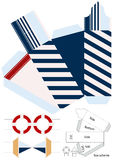 Box template. Gift package. Nautical style. Royalty Free Stock Images