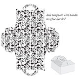 Box template with handle. No glue needed.  floral pattern Royalty Free Stock Photos