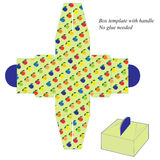 Box template with handle, no glue needed. with fruit pattern Stock Images