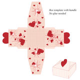 Box template with handle, no glue needed. with stripes and red hearts Stock Photography