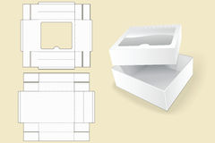 Box template. Packaging. White Cardboard Box. Opened White Cardboard Package Box. Stock Images
