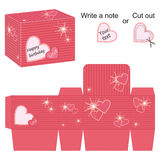 Box template with red hearts and splash Stock Photos
