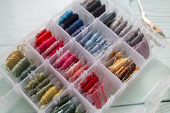 Box of Threads for Embroidery Royalty Free Stock Images