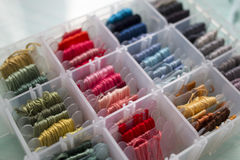 Box of Threads for Embroidery Royalty Free Stock Photo