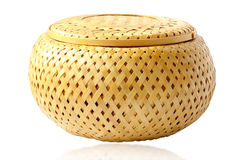Box for threads straw. Beautiful round box for thread straw Royalty Free Stock Images