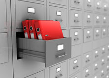 Box with three folders. Open box with three red folders, 3d image Royalty Free Stock Images