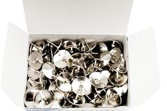 Box of thumbtacks Stock Photo