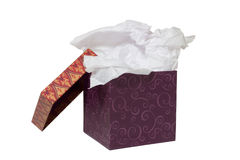 Box with Tissue Paper on White Stock Photos