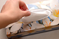 Box of tissues. An opened box of tissues Stock Photo