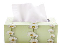 Box of Tissues. An opened box of paper tissues isolated on white Stock Photo