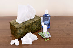Box of tissues with medicine Stock Photo