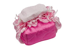 Box of tissues. Pink on white isolate background Royalty Free Stock Photos