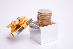 Box to gift and coin Royalty Free Stock Image