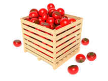 Box with tomatoes. On white Stock Photo