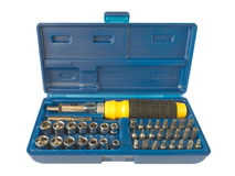 Box with tools. Screws and screwdriver, isolated Stock Images