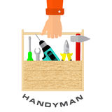 Box of tools in hand of handyman. House remodel tools. Logo home repair service. Flat style tools for building, remodel and repair Stock Images