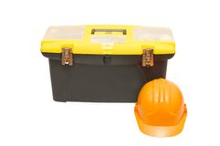 Box for tools a helmet Stock Photos