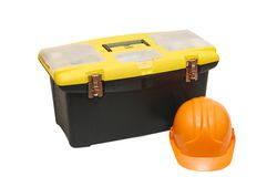 Box for tools a helmet Royalty Free Stock Photos