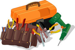 Box with tools. Tool box and drill over white background Stock Photos