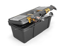 Box with tools on a white Stock Photos