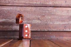 Box toothpicks on wood table Royalty Free Stock Photo