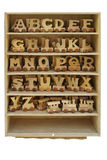 Box with toy letters. Box with toy wooden letters Royalty Free Stock Photos
