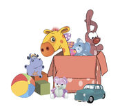 Box with toys cartoon. Set of children's soft toys and box Stock Photos