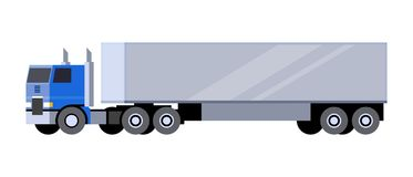 Box trailer truck. Minimalistic icon box trailer tractor front side view. Semi trailer vehicle. COE - cab over engine truck. Vector isolated illustration royalty free illustration