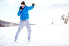 Box training outdoor in snow, fitness concept, running and training Royalty Free Stock Photos